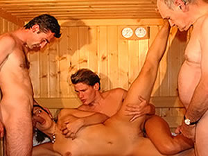 Hardcore anal orgy in the sauna
