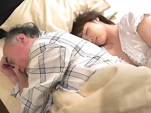 Grandpa fucks Japanese girl in bedroom